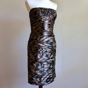 Strapless Cocktail Dress Bronze Black Beaded 10